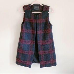 Sanctuary Black Maroon Tailored Long Knit Vest S